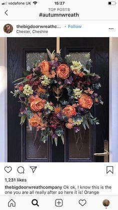 Stunning Autumn Peony Faux Door Wreath (At least a week wait), Big Doors, Black Doors, Tulip Wreath, Floral Wreath, Cute House, New Hobbies, Door Wreaths, Peonies, Fall Decor