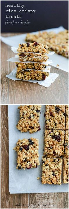 Healthy Rice Crispy Treats are a no bake crunchy sweet treat that is gluten free and dairy free.