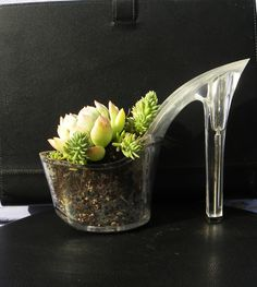 love this. Slay Belle. stiletto succulent planter reclaimed high heel. eco friendly indoor gardening