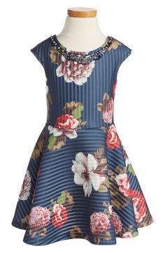 Hannah Banana Floral Print Scuba Dress (Little Girls & Big Girls) available at #Nordstrom
