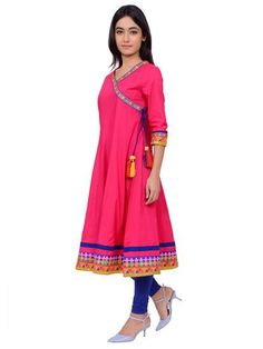LadyIndia.com # Cotton Kurti, Trendy Anarkali Pink Kurti For Women, Kurtis, Kurtas, Cotton Kurti, Anarkali, A-Line Kurti Designer Kurti, https://ladyindia.com/collections/ethnic-wear/products/trendy-anarkali-pink-kurti-for-women?variant=30039332749