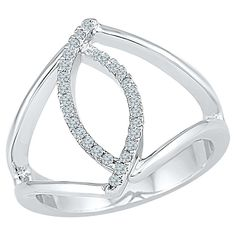1/6 CT.T.W Round White Diamond Prong Set Fashion Ring in Sterling Silver (7.50), Size: 7.5