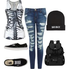 CSONTVÁZ LOVE♡ by jeanettejeanette on Polyvore featuring polyvore fashion style Current/Elliott Vans Sherpani Kill Brand