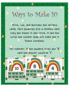 Patrick's Ways to Make 10 Math Boards, Rainbow Card, Deep Meaning, Saint Patricks, Making 10, Numeracy, Kindergarten Math, Life Cycles, Print And Cut