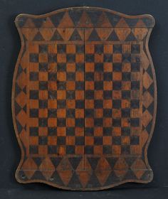 Victorian Gameboard ~ patterned with burnishing tool reverse decorated with courting scene ~ circa 1900