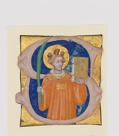 Manuscript Illumination with Saint Stephen in an Initial S, from an Antiphonary. Ca 1410-20 Made in Bologna. Italia Tempera, ink, and gold on parchment
