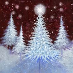 Christmas tree winter scene