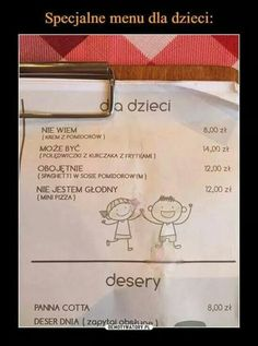 Specjalne menu dla dzieci: - The world's most private search engine Wtf Funny, Funny Cute, Funny Memes, Jokes, Love Memes, Best Memes, Funny Lyrics, Man Humor, Kids And Parenting