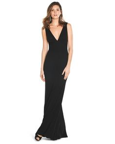 White House | Black Market Deep V-Neck Gown #whbm (less plunge & different shoes would work better)
