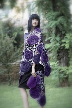 Lavender violet purple flowers. Handmade felted wrap shawl capelet Ready to ship
