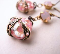 Peach pink pastel earrings with vintage art glass and filigree