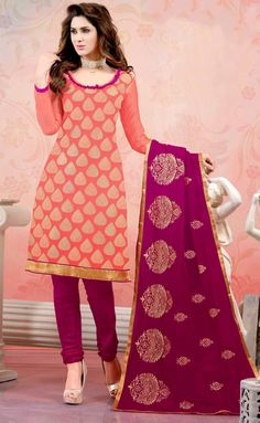 USD 20.05 Salmon Chanderi Silk Churidar Suit 44497