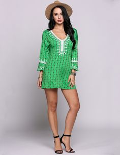 Green Bell Sleeve V Neck Ethnic Styles Lace Patchwork Going Out Dress