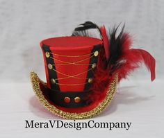 Red Mini Top Hat, The Ringmaster, Steampunk Hat, Women Headpiece,Tea Party Hat, Mad Hatter Hat, Burlesque hat READY TO SHIP