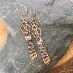 Labradorite Earrings Wire Wrap Earrings Copper Earrings
