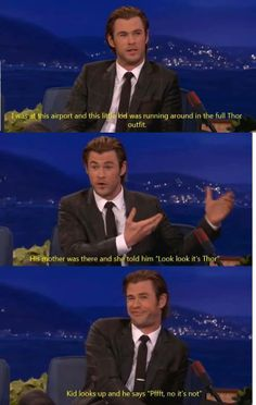 Chris Hemsworth on dealing with infant fans More memes, funny videos and pics on Avengers Humor, Marvel Jokes, Funny Marvel Memes, The Avengers, Memes Humor, Dc Memes, Funny Memes, Funny Videos, Christian Grey
