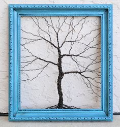 Amy Giacomelli Painting Original Large Tree Abstract Sculpture ... Wire tree on vintage ornate shabby style salvaged frame