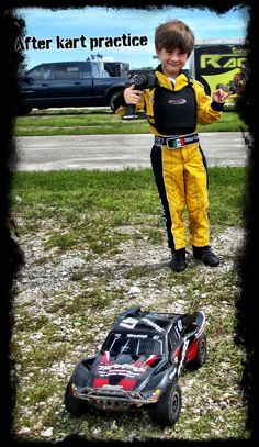 Diego Cortes playing with his super cool R/C car (TRAXXAS) after a great Kart practice in Homestead, Miami.   It's all about having fun :-)