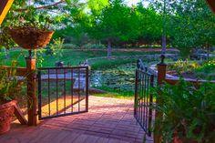 Beyond the Gate at Oxbow Overlook Clark Gardens, Pond Design, Art And Craft Design, Pavilion, Garden Art, Gates, Arts And Crafts, Deck, Backyard