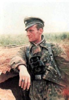 "SS-Untersturmführer Franz-Josef ""Franzl"" Kneipp in Normandy front, June 1944."