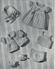 Dolls Clothes Knitting Pattern for 10 inch doll. Vintage copy. PDF Instant download. Dainty, traditional dolls clothes knitting pattern for dress, jacket, bonnet, vest, pants and bootees. Knitted in delicate 3 ply on number 10 needles, (3.25 mm). Will fit a baby doll 10 inches in length and 8 inches around widest part of body. Lovely use of wool from your stash; a delightful outfit for a traditional baby doll. This is a careful copy of a 1940s pattern from my own vintage collection. It i...