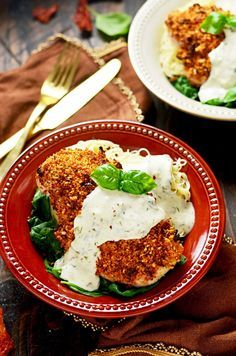 Sun Dried Tomato Crusted Chicken with Goat Cheese and Herb Sauce. Make chicken breasts into an exciting dinner that's easy enough for a weeknight but impressive enough for a date night. The crumb mixture gives the chicken crunch while a dijon mustard and light mayonnaise mixture keeps it moist!   hostthetoast.com