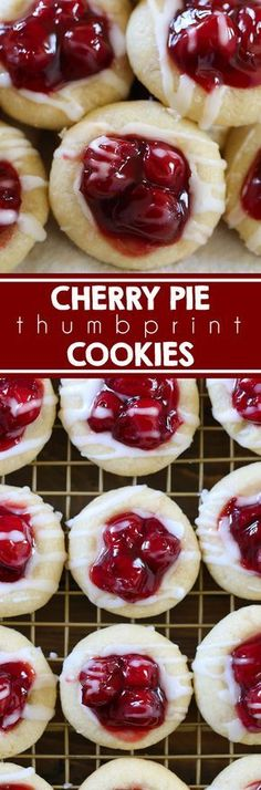 Cherry Pie Cookies Cherry Pie Cookies - These cookies are made with sugar cookie dough and pack the perfect amount of cherry flavor with pie filling. Our family loves these cookies! Valentine's Day I Christmas I Mother's Day I Easter I July Mini Desserts, Easy To Make Desserts, Delicious Desserts, Dessert Recipes, Yummy Food, Almond Sugar Cookies, Sugar Cookie Dough, Cookie Pie, Cookie Jars