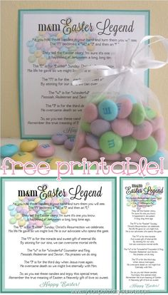 FREE EASTER PRINTABLE - M&M Easter Legend Poem about Christ and His Resurrection, bookmarks and tags... SO CUTE!!  Great Easter Lesson handout or something religious for the Easter Basket! #mycomputerismycanvas