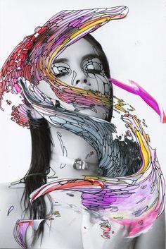Alana Dee Haynes x Antonella Artismendi Kristina - imagine replacing swirl with a swirl of universe partially over her face.