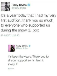 """#5YearsSinceHarrysAudition . He got me at """"isn't it lovely"""" . <<<  isn't she looovelyyyy..."""