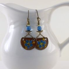 Blue and Yellow Flower Power Enameled Metal by CinLynnBoutique