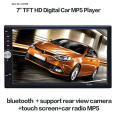 2017 7'' inch LCD Touch screen car radio player support 5 Languages Menu BLUETOOTH hands free rear view camera car audio #Affiliate