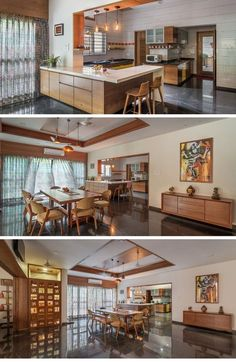 Contemporary House With a Simple Layout- dining decor Home Design Living Room, Kitchen Room Design, Modern Kitchen Design, Interior Design Kitchen, Interior Ideas, Simple House Interior Design, Interior Colors, Kitchen Ideas, Kitchen Decor