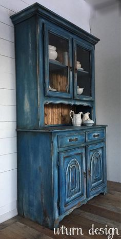 Blue hutch painted farmhouse hutch weathered #paintedfurniture #affiliate