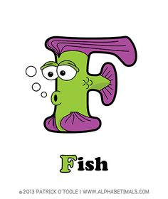 Fish - Alphabetimals make learning the ABC's easier and more fun! http://www.alphabetimals.com
