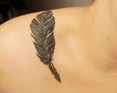 feather quill tattoo on shoulder Dream Tattoos, Love Tattoos, Beautiful Tattoos, Small Tattoos, Tatoos, Eagle Feather Tattoos, Tribal Tattoos, Quill Pen Tattoo, Writer Tattoo
