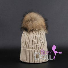 Large Genuine Raccoon Fur Pompom knitted Braided by BusyDOLL