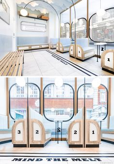 FormRoom have designed 'Milk Train', a modern ice cream cafe that's inspired by … FormRoom has & # Milk Train & # designed, a modern ice cream café, inspired by the design of the British subways and their stations. Restaurant Interior Design, Commercial Interior Design, Commercial Interiors, Coffee Shop Design, Cafe Design, Store Design, Design Design, Restaurant Logo, Modern Restaurant