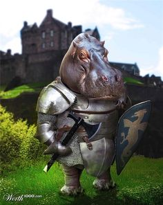 Chop A Hippo 6 - Worth1000 Contests: Hippo Knight (check out that codpiece!)