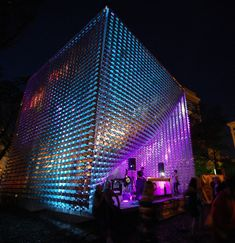 The Cube Stage at Old Market Square at night.