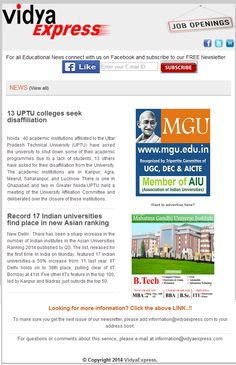 "#EducationNews@VidyaExpress ""Record 17 Indian universities find place in new Asian ranking"" For more information Indian universities visit online: http://www.vidyaexpress.com/newsletter/newsletter29/newslttr29.php"