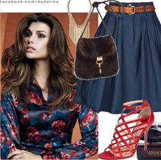 """#Inspiração Look com a camisa de cetim """"floral dark"""": http://ow.ly/aa1iT"""