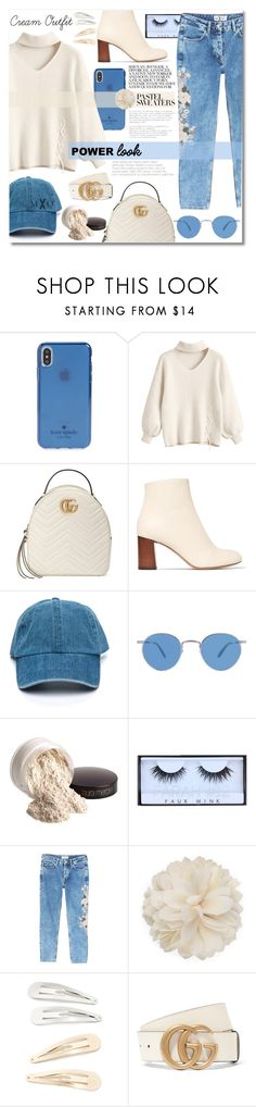 """Cream Outfit: 19:35"" by mxogirl ❤ liked on Polyvore featuring Kate Spade, Gucci, Chloé, Garrett Leight, Laura Mercier, MANGO, Kitsch and modern"
