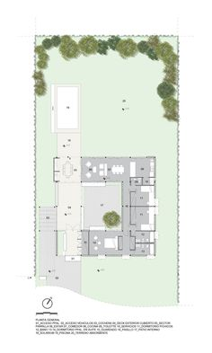 Casa Canning,Planta General Small House Plans, House Floor Plans, Architectural Floor Plans, Casa Patio, Modern Architecture Design, Green Palette, Modern Art Deco, Courtyard House, House Drawing