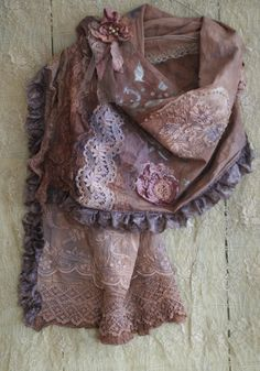RESERVED for Joanne----Poetess - bold antique laces and linen scarf, shrug, bohemian romantic, natural materials, beaded details