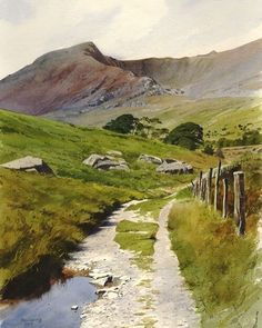 'The old road to Ogwen' watercolor painting by Rob Piercy UK. 'Старая дорога в…