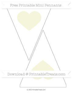 Beige  Heart Theme On White Simple Mini Pennants
