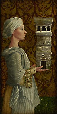 St. Barbara.   by James C. Christensen  12 x 6     St. Barbara was born in Egypt (or Asia Minor) in the third century. Her father, a rich heathen, loved her very much and was fearful some man would marry her and take away. According to the legend, he built for her a high tower where she was jealously guarded from the world. Hearing of Christianity, she became fascinated and arranged to receive a Christian disciple disguised as a physician. She was converted and secretly baptized.