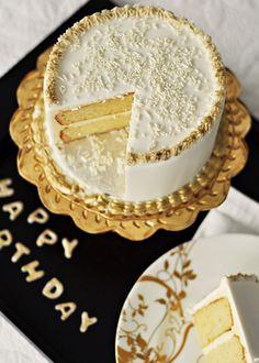 Very-Vanilla Birthday Cake with Vanilla Bean Swiss Meringue Buttercream & Gold Painted Accents