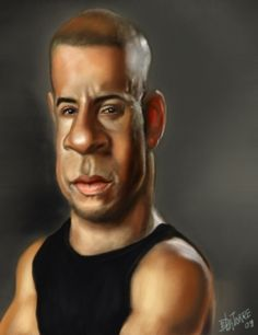 Vin Diesel (Caricature) Dunway Enterprises: http://dunway.com - http://masterpaintingnow.com/how-to-draw-everything?hop=dunway
